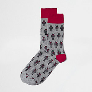 Grey robot print socks