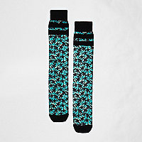Black and blue palm print socks