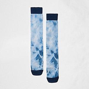 Blue tie dye print socks