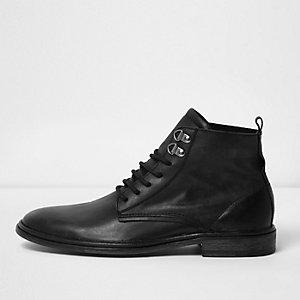 Zwarte washed leren laarzen