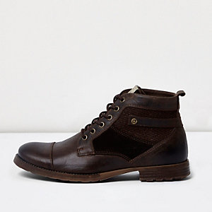 Dark brown leather panel work boots