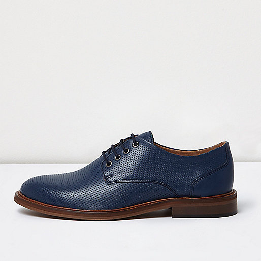 Blue leather lace up shoes