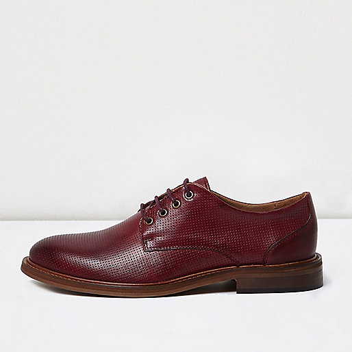 Red leather lace up shoes