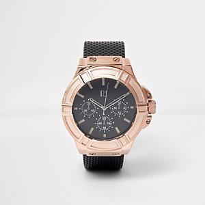 Armbanduhr in Roségold mit Kunstlederarmband