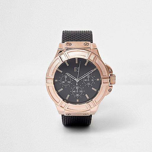 Rose gold faux leather strap watch