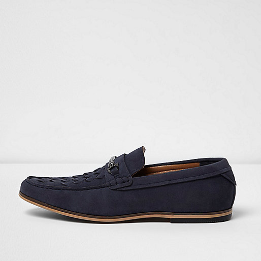 Navy snaffle loafers