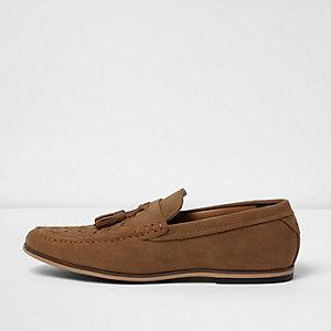 Bruine gevlochten loafers met kwastjes