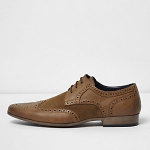 Tan panel brogues