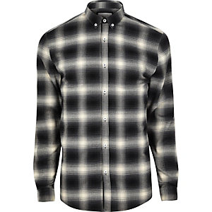 Black check muscle fit shirt