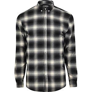 Zwart-wit geruit aansluitend overhemd