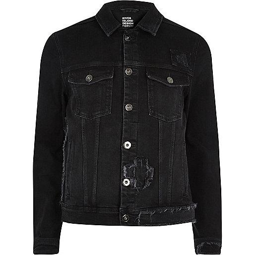 Veste en jean Design Forum noire effet patchwork