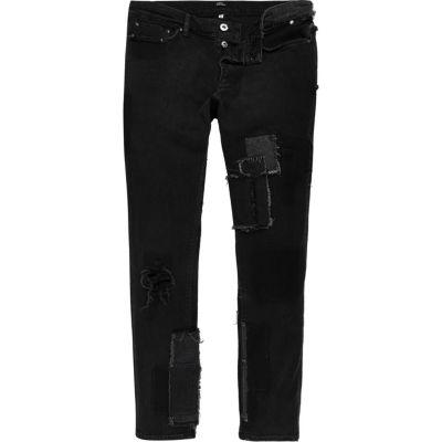 Design Forum zwarte jeans met patchwork