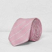 Pink stripe print textured tie