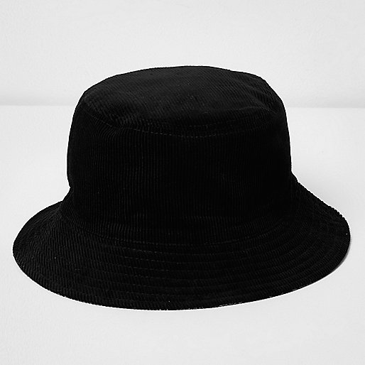 Black corduroy reversible hat