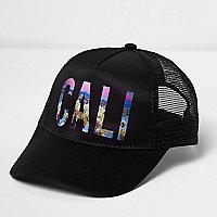 Zwarte baseballpet met cali-print en mesh achter