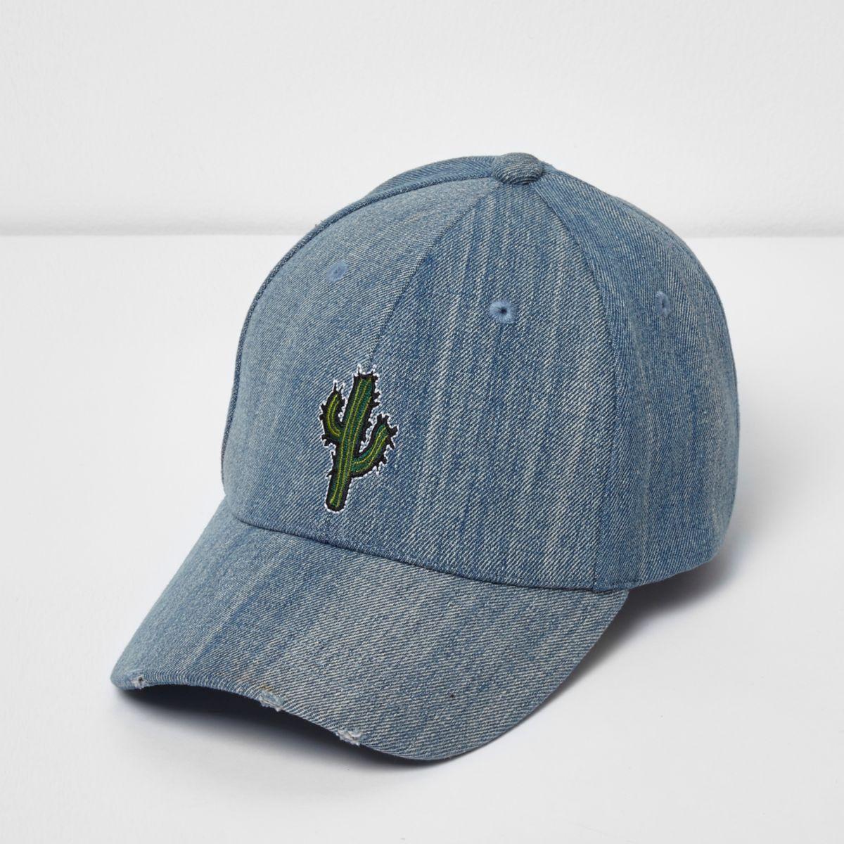 Blue wash denim cactus print cap
