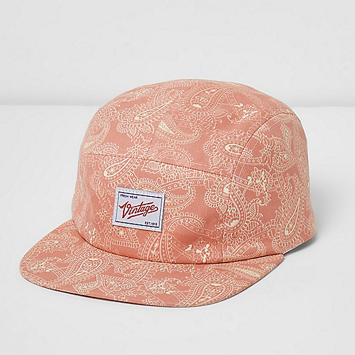 Orange paisley flat peak cap