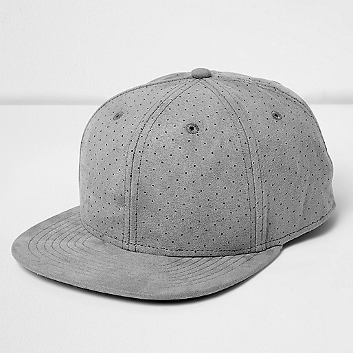 Grey perforated flat peak hat