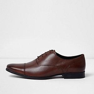 Dunkelbraune, elegante Oxford-Schuhe aus Leder