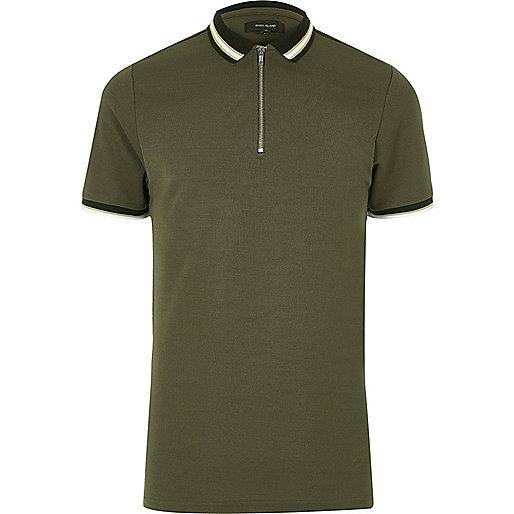 Khaki green zip placket polo shirt