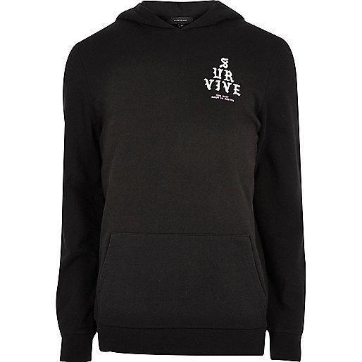Black 'Survive' print long sleeve hoodie