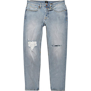Jimmy – Hellblaue Slim Fit Jeans im Used-Look