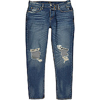 Dark blue wash ripped Jimmy tapered jeans