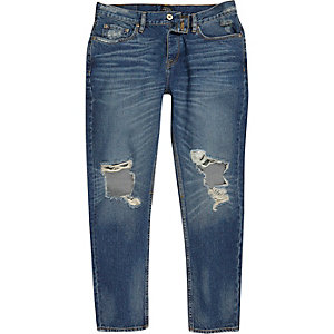 Jimmy - Donkerblauwe wash ripped smaltoelopende jeans