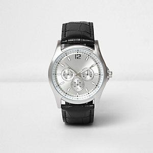 Matte Uhr in Schwarz und Chrom