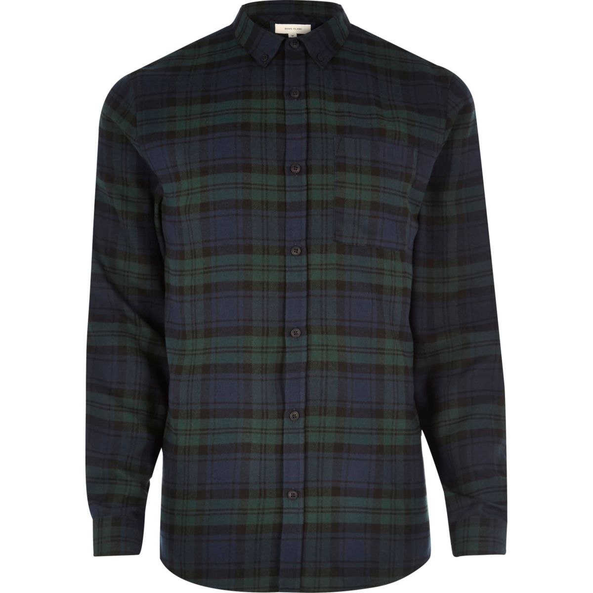Green casual check flannel shirt