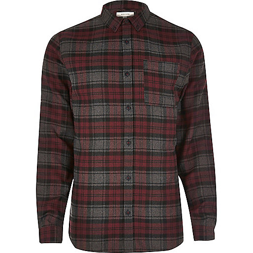 Purple casual check flannel shirt