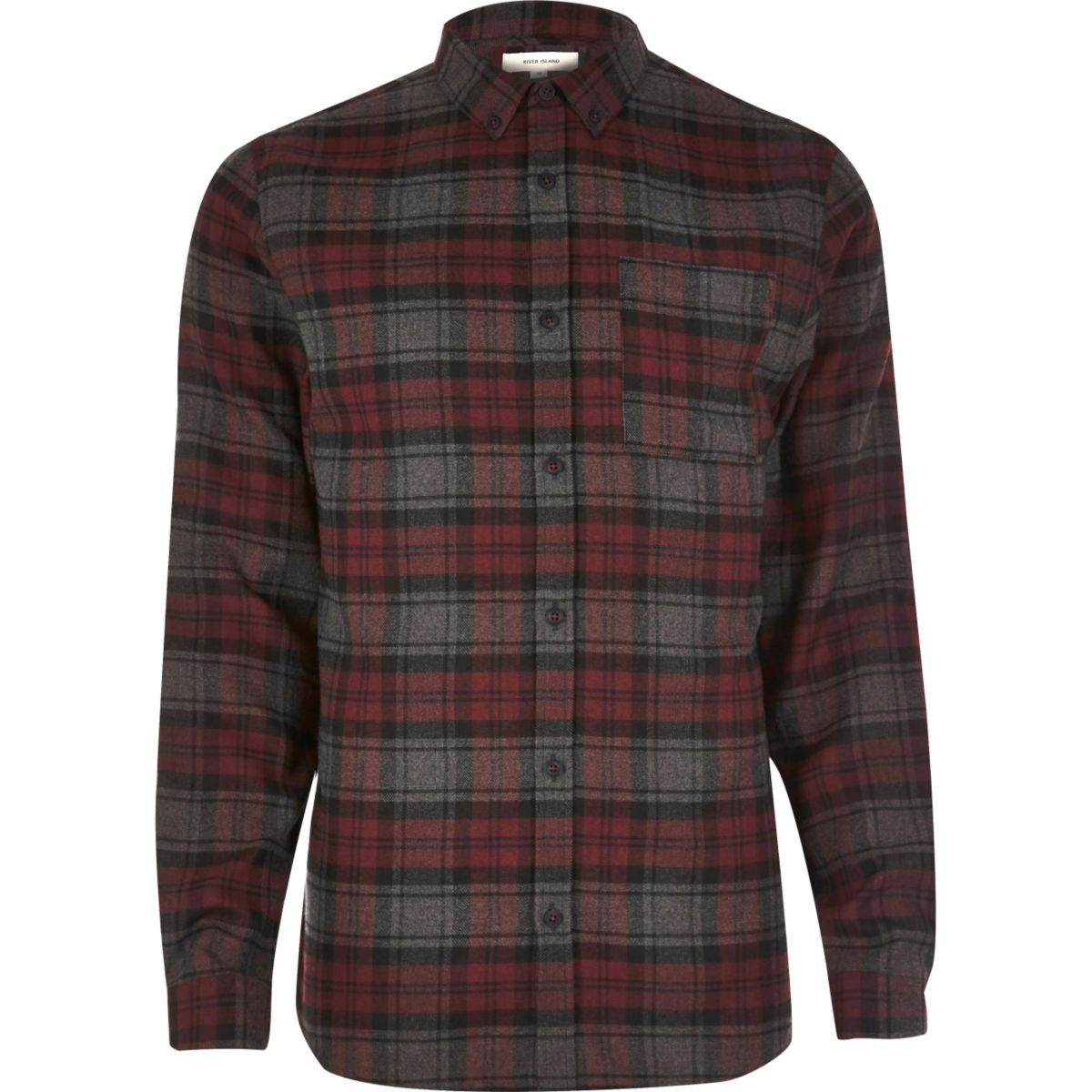 Purple casual check flannel shirt