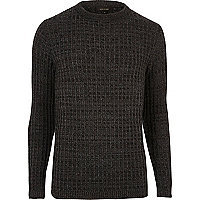 Dark grey twist slim fit jumper