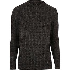 Donkergrijze slim-fit pullover met brede ribbels