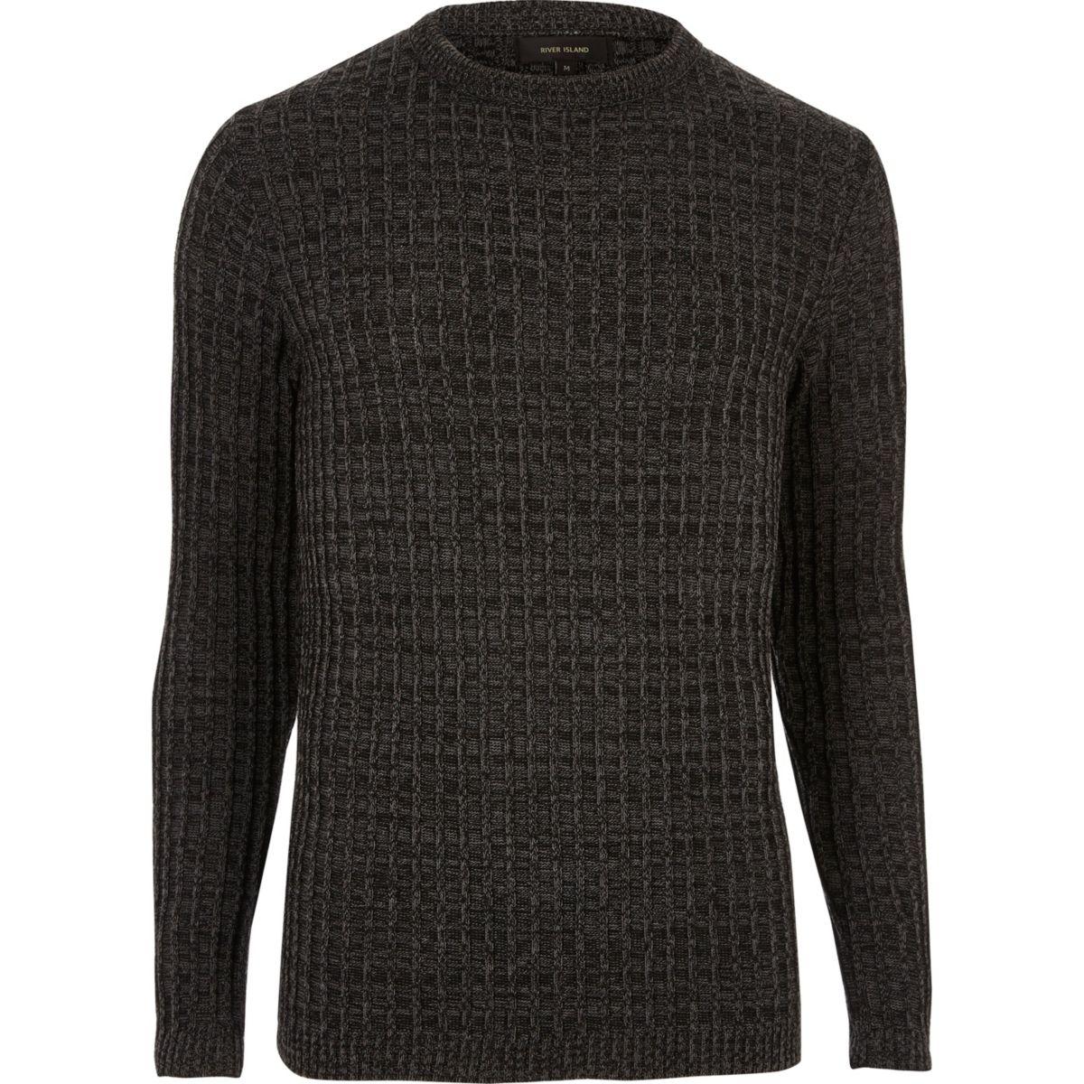 Dark grey twist slim fit jumper