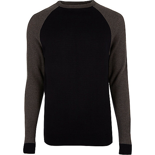 Navy raglan sleeve sweater