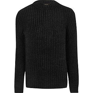 Donkergrijze grofgebreide pullover