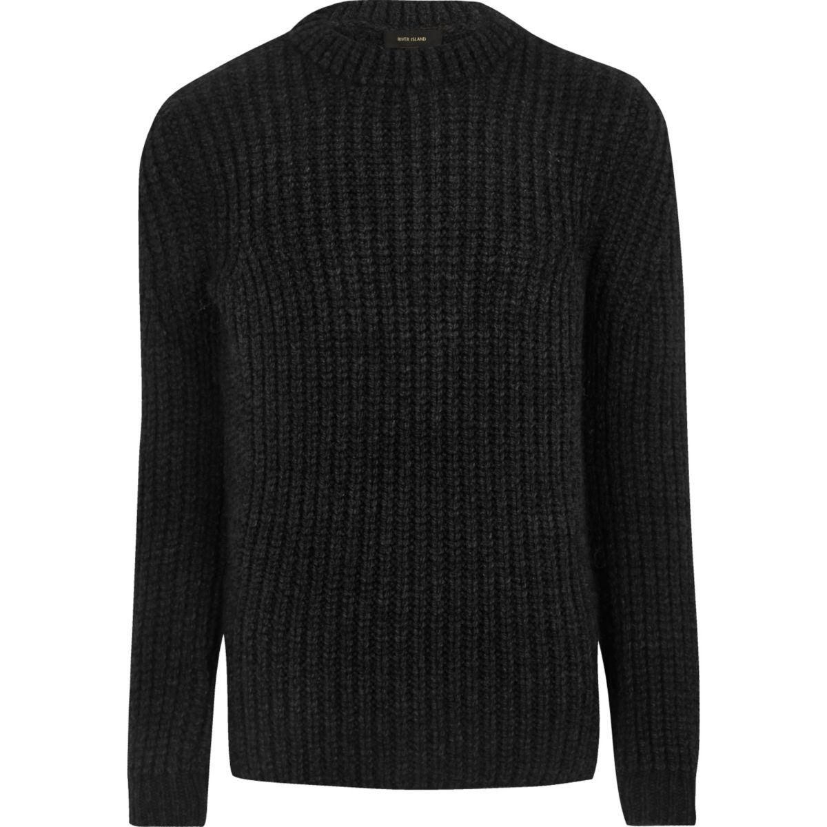 Dark grey chunky knit jumper