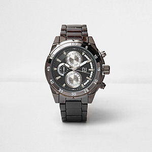 Dark grey gunmetal watch