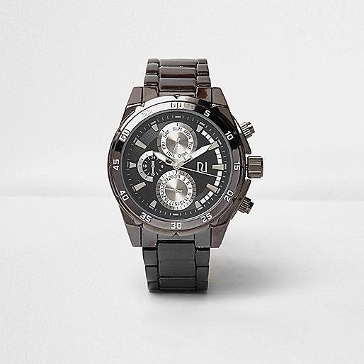 Dark grey gunmetal watch