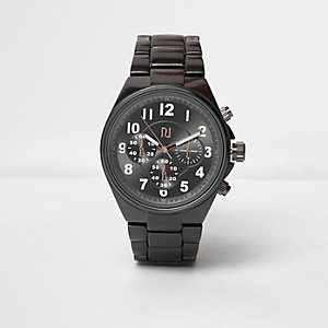 Grey solid gunmetal watch