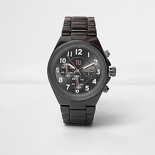 Grey solid gunmetal watch