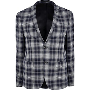Veste de costume skinny à carreaux bleue