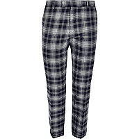 Blue check skinny fit cropped suit pants