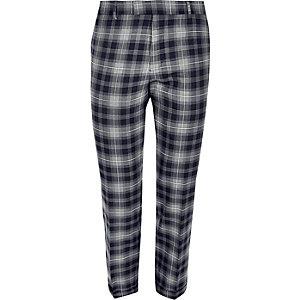 Pantalon de costume skinny court à carreaux bleu