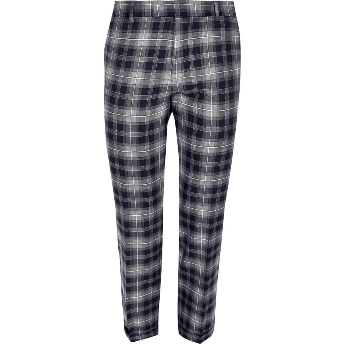 Blue check skinny fit cropped suit trousers