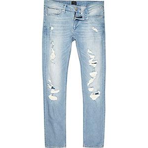 Sid – Skinny Jeans in hellblauer Waschung im Used-Look