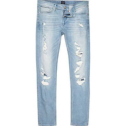 Light blue wash extreme rips skinny Sid jeans