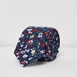 Navy blue floral print tie