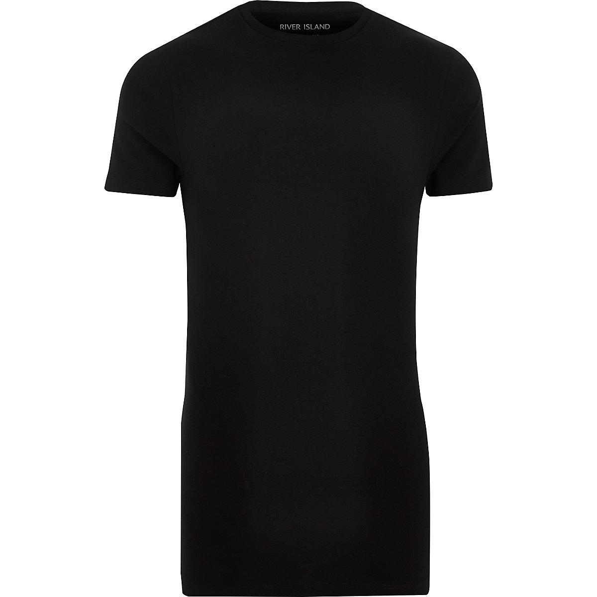 T-shirt noir long à coupe ajustée